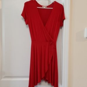 Rolla Coster Red Mock Wrap Dress